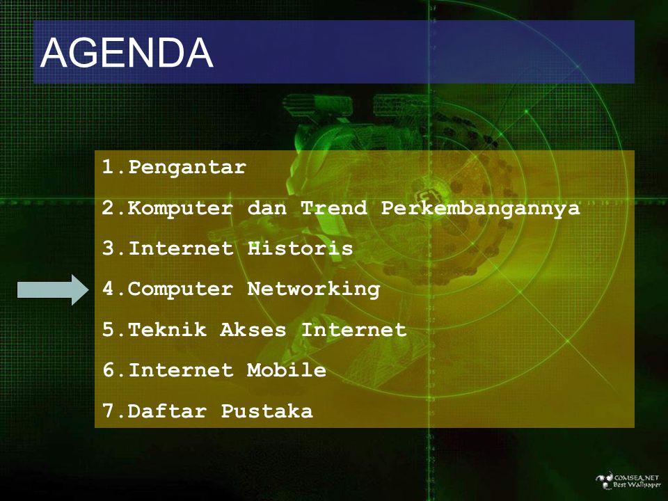 AGENDA 1.Pengantar 2.Komputer dan Trend Perkembangannya 3.Internet Historis 4.Computer Networking 5.Teknik Akses Internet 6.Internet Mobile 7.Daftar P