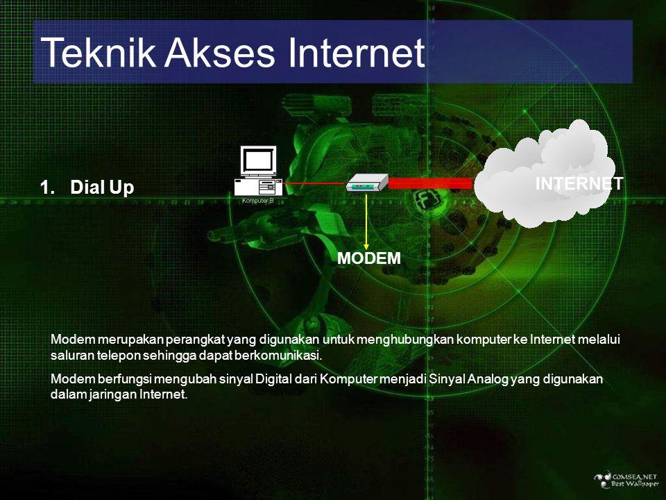 Teknik Akses Internet 1. Dial Up MODEM Modem merupakan perangkat yang digunakan untuk menghubungkan komputer ke Internet melalui saluran telepon sehin