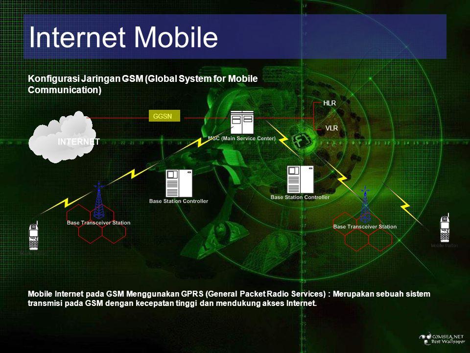 Internet Mobile Konfigurasi Jaringan GSM (Global System for Mobile Communication) HLR VLR GGSN Mobile Internet pada GSM Menggunakan GPRS (General Pac