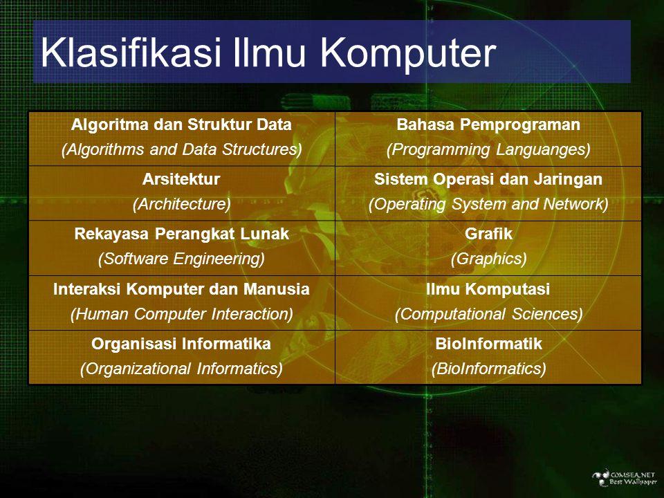 Klasifikasi Ilmu Komputer BioInformatik (BioInformatics) Organisasi Informatika (Organizational Informatics) Ilmu Komputasi (Computational Sciences)