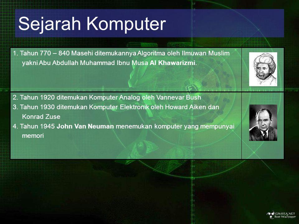 Sejarah Komputer 2. Tahun 1920 ditemukan Komputer Analog oleh Vannevar Bush 3. Tahun 1930 ditemukan Komputer Elektronik oleh Howard Aiken dan Konrad Z
