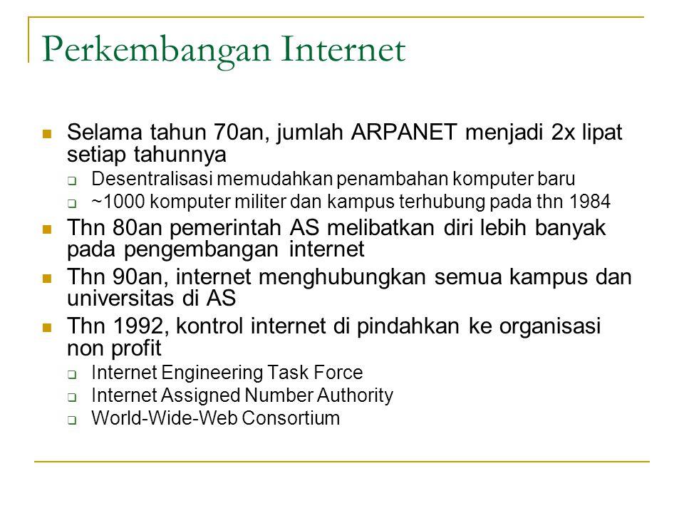 Perkembangan Internet  Selama tahun 70an, jumlah ARPANET menjadi 2x lipat setiap tahunnya  Desentralisasi memudahkan penambahan komputer baru  ~100