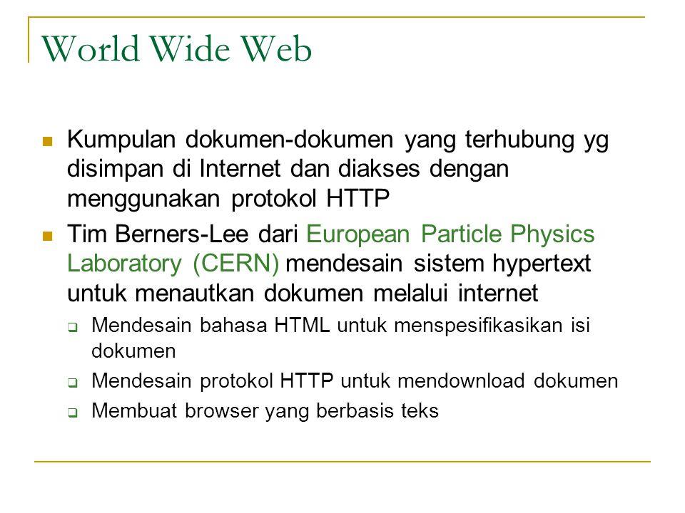 HTTP  HyperText Transfer Protocol  Protokol utama World Wide Web  Mengatur format data dan pertukaran data antara server dengan klien  Defaultnya menggunakan port 80
