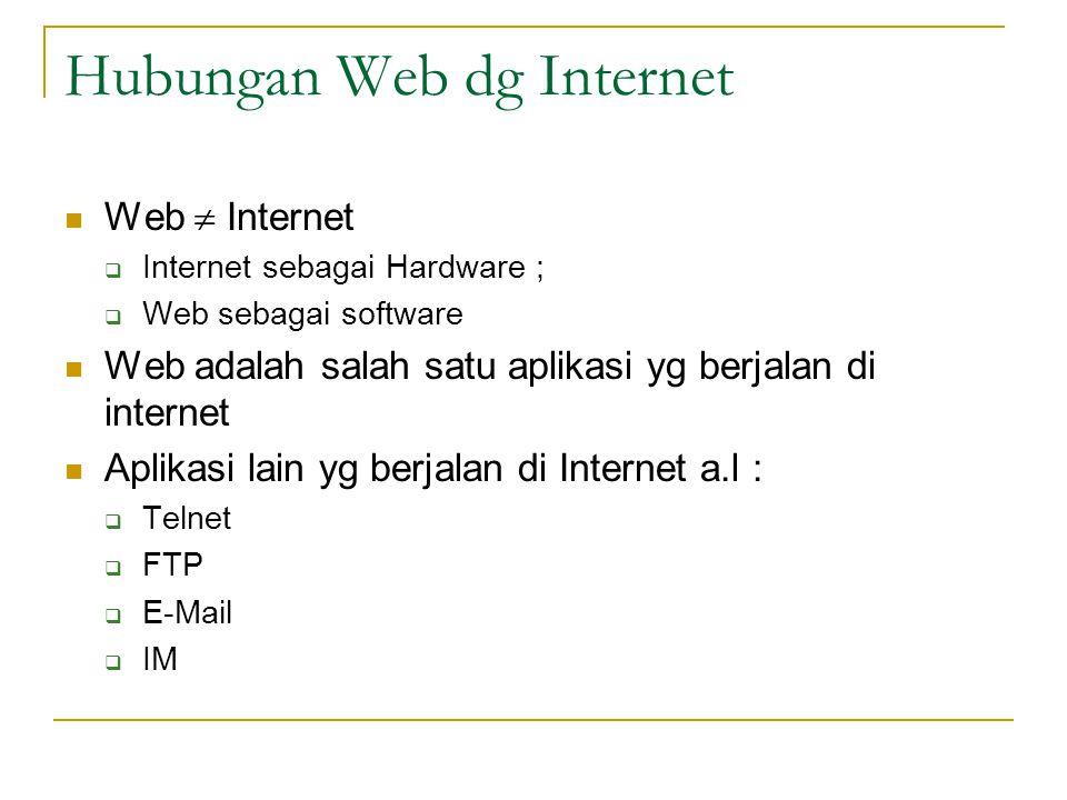 Dokumen di Web  Ditulis dalam format HTML  Diletakkan di web server  Diakses menggunakan web browser  Cara pengaksesan  Tentukan URL  URL tersusun atas 3 bagian  Format transfer  Nama host  Path dokumen  Contoh URL : http://www.example.com/test.html