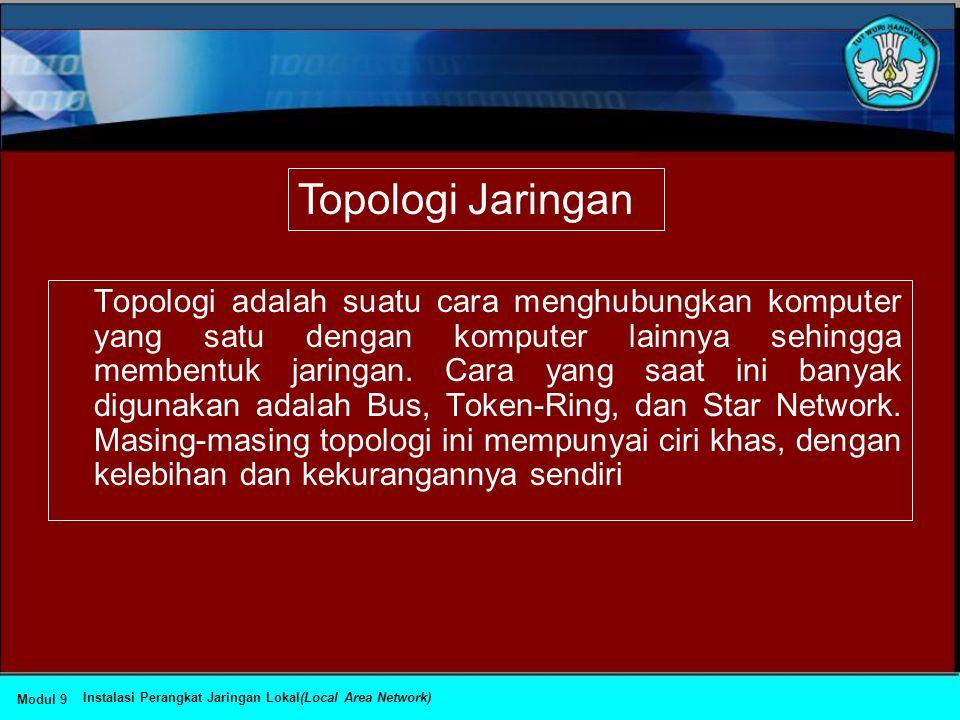 Topologi adalah suatu cara menghubungkan komputer yang satu dengan komputer lainnya sehingga membentuk jaringan.