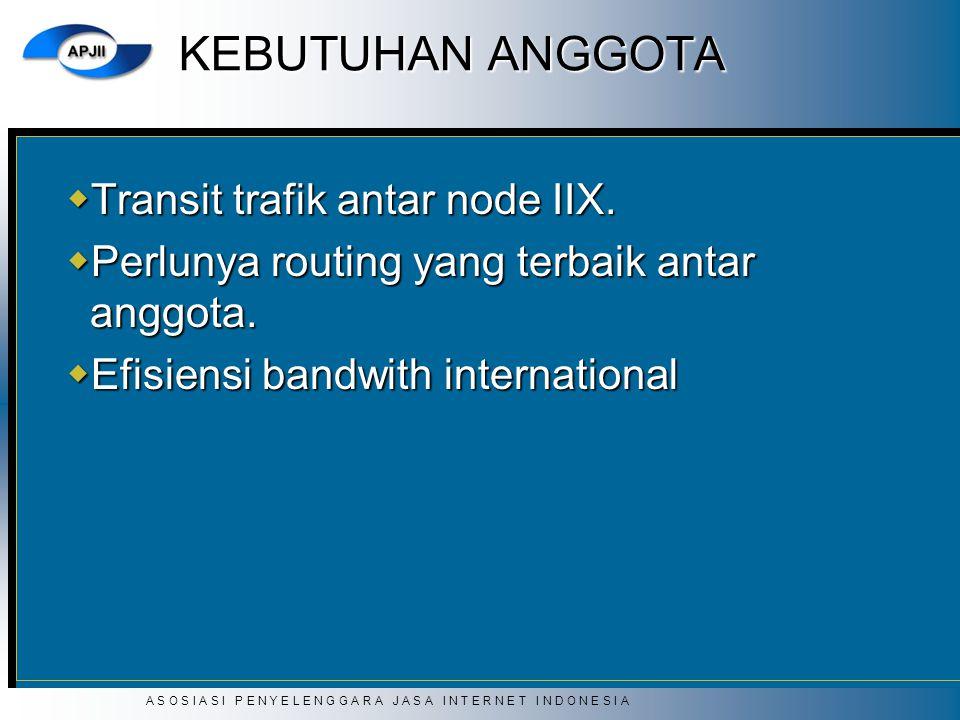 A S O S I A S I P E N Y E L E N G G A R A J A S A I N T E R N E T I N D O N E S I A KEBUTUHAN ANGGOTA  Transit trafik antar node IIX.  Perlunya rout