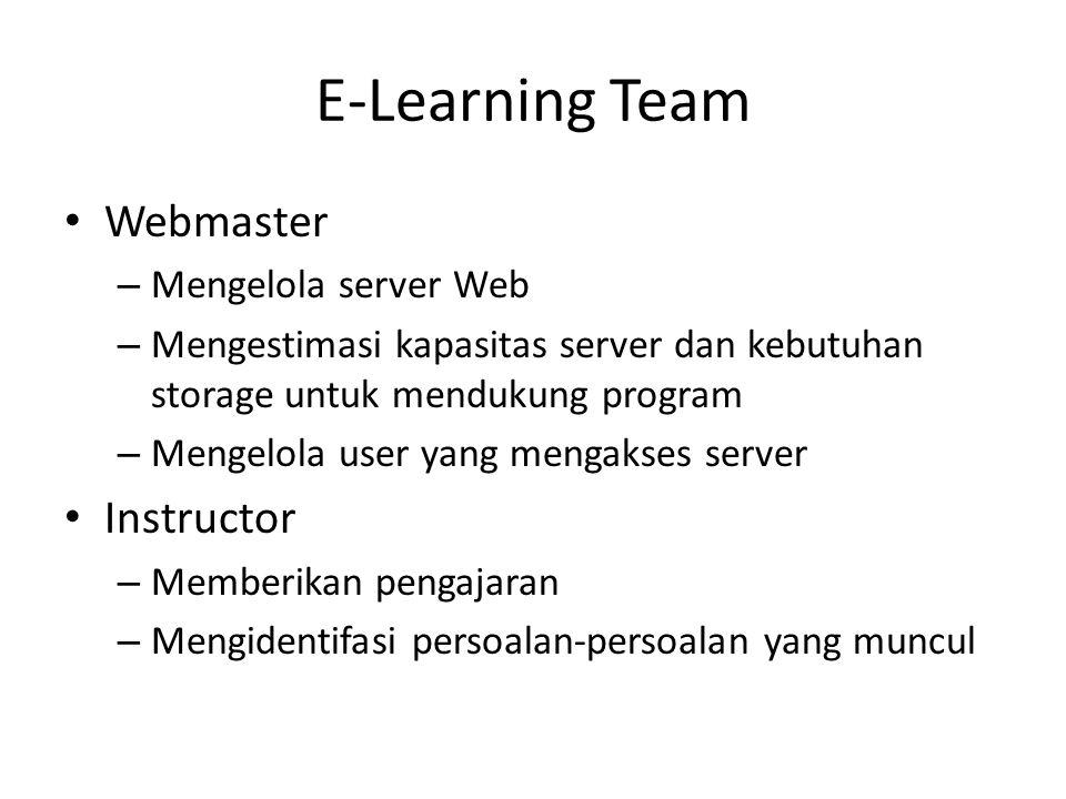 E-Learning Team • Webmaster – Mengelola server Web – Mengestimasi kapasitas server dan kebutuhan storage untuk mendukung program – Mengelola user yang