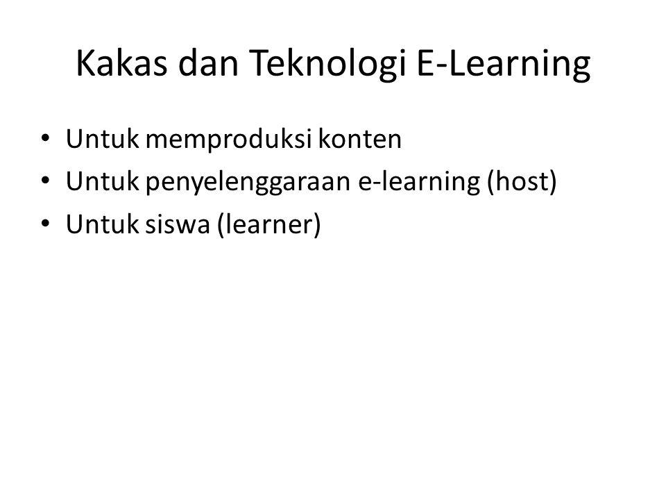 Kakas dan Teknologi E-Learning • Untuk memproduksi konten • Untuk penyelenggaraan e-learning (host) • Untuk siswa (learner)