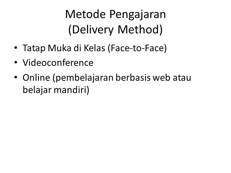 Metode Pengajaran (Delivery Method) • Tatap Muka di Kelas (Face-to-Face) • Videoconference • Online (pembelajaran berbasis web atau belajar mandiri)