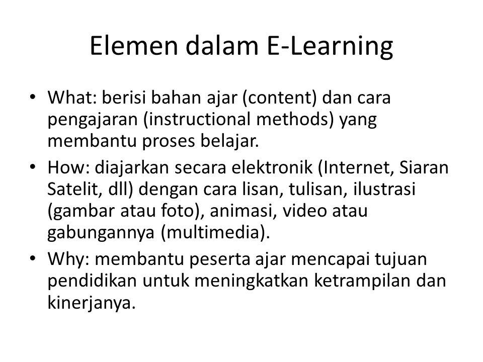 Elemen dalam E-Learning • What: berisi bahan ajar (content) dan cara pengajaran (instructional methods) yang membantu proses belajar. • How: diajarkan