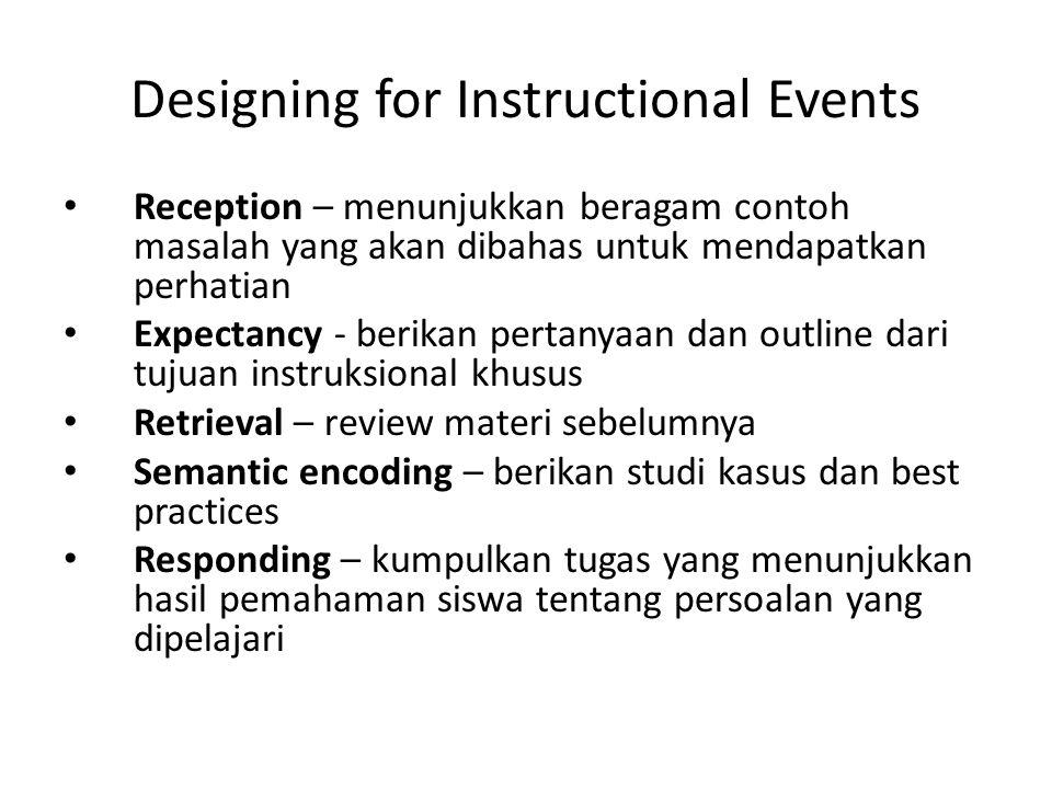 Designing for Instructional Events • Reception – menunjukkan beragam contoh masalah yang akan dibahas untuk mendapatkan perhatian • Expectancy - berik