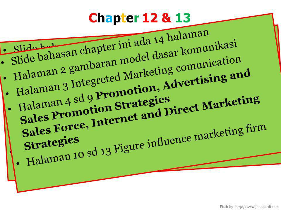 Chapter 12 & 13 Promotion, Advertising and Sales Promotion Strategies Sales Force, Internet and Direct Marketing Strategies Flash by http://www.jhonhardi.com