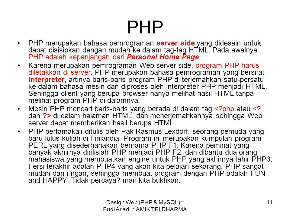 Design Web (PHP & MySQL) :: Budi Ariadi :: AMIK TRI DHARMA 10 •Setiap document HTML harus di awali dan di tutup dengan tag HTML  …… •Tag memberi tahu browser bahwa yang di dalam kedua tag tersebut adalah document HTML.