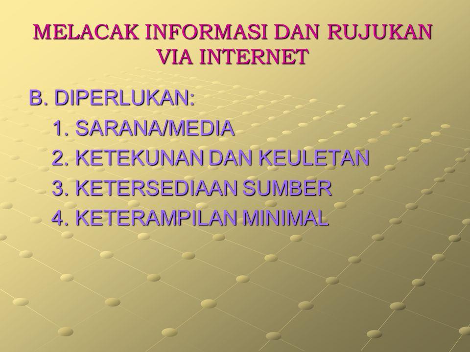 MELACAK INFORMASI DAN RUJUKAN VIA INTERNET A.RUJUKAN/INFORMASI YANG DIPERLUKAN: DIPERLUKAN: 1.