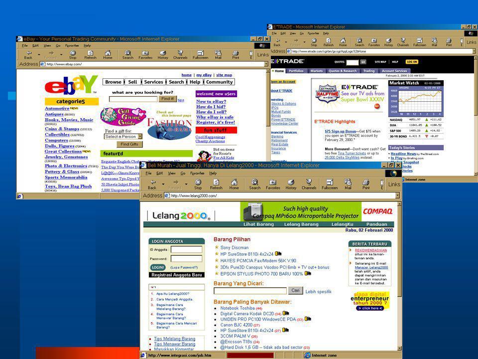 Contoh :  E-bay : www.ebay.com  Memiliki 7,7 juta anggota  Melelang 3,3 juta barang  Barang dikelompokkan dalam 2.900 kategori  Tiap hari terjadi penawaran sejumlah 2,9 juta dengan 350 ribu barang terjual  Sejak 1995 telah mencatat 126 juta penawaran  Membentuk sebuah komunitas global  Contoh lain : lelang2000.com