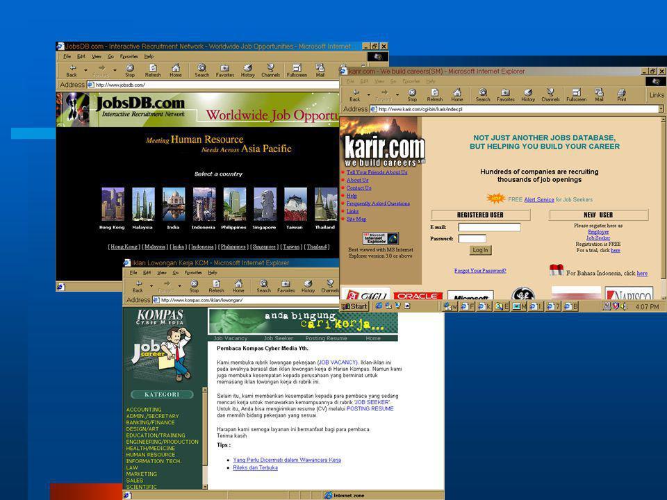 Lowongan Kerja  Perusahaan memasang lowongan di Internet –(bisa membayar, bisa gratis)  Dimasukkan dalam kategori  Pencari kerja bisa 'menawarkan diri' –Gratis  Bisa langganan lewat e-mail untuk lowongan kategori tertentu  Membentuk sebuah komunitas global  Kompas Cyber Media, JobsDB, Jobstreet