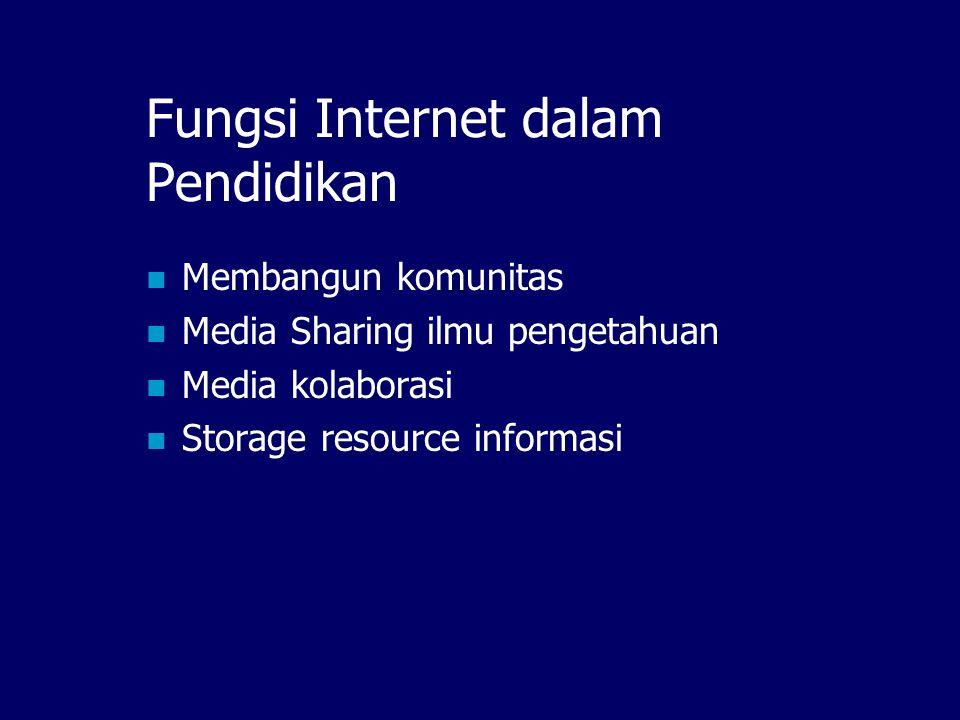 Internet & Dunia Pendidikan? Beberapa istilah yang sering didengar:  E-learning, distance learning  Digital library  Online journal  dll