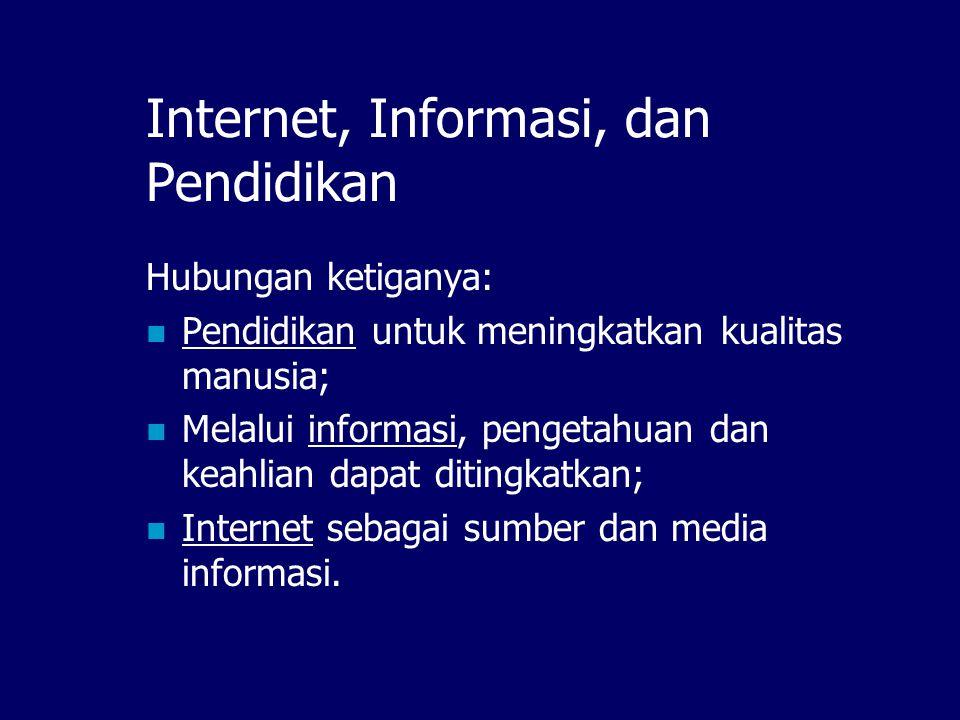 Fungsi Internet dalam Pendidikan  Membangun komunitas  Media Sharing ilmu pengetahuan  Media kolaborasi  Storage resource informasi