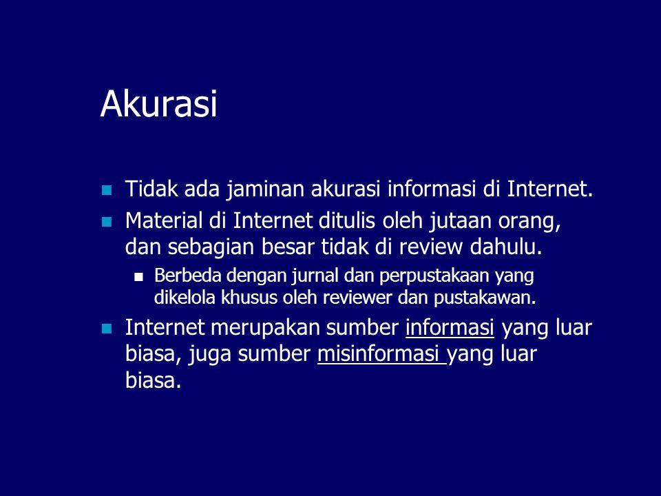 Apakah semua informasi yang ada di web BENAR?