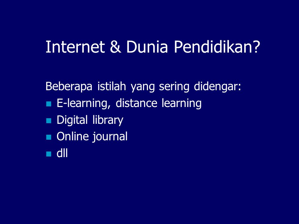 Future of IndonesiaDLN: The Network of Networks IndonesiaDLN GDL-Engine GDL- Network GDL-Engine Human Rights- Network GDL-Engine Agriculture Network GDL-Engine Heritage- Network GDL-Engine Biblio- Network GDL-Engine New Spektra Distance Learning- Network GDL-Engine