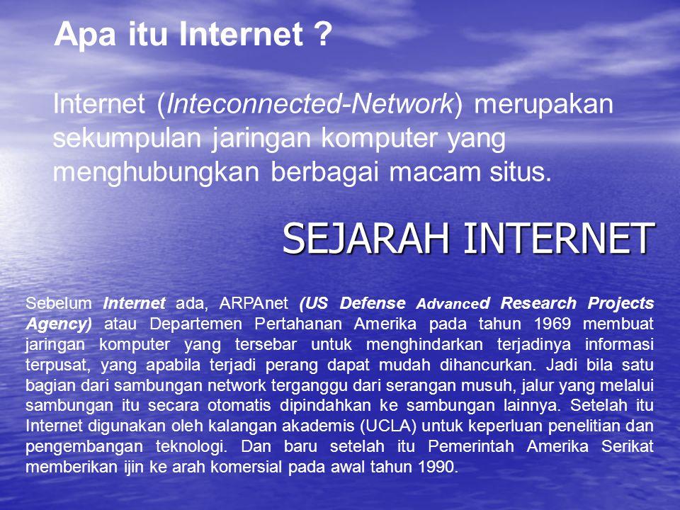 Apa itu Internet ? Internet (Inteconnected-Network) merupakan sekumpulan jaringan komputer yang menghubungkan berbagai macam situs. SEJARAH INTERNET S