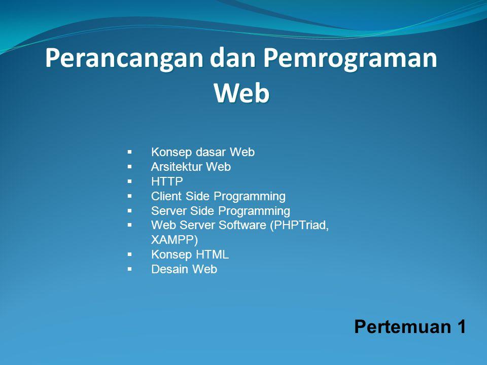 Perancangan dan Pemrograman Web  Konsep dasar Web  Arsitektur Web  HTTP  Client Side Programming  Server Side Programming  Web Server Software (