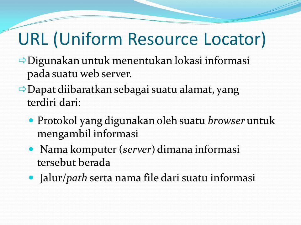 URL (Uniform Resource Locator)  Protokol yang digunakan oleh suatu browser untuk mengambil informasi  Nama komputer (server) dimana informasi terseb