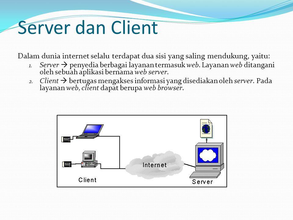 Server dan Client Dalam dunia internet selalu terdapat dua sisi yang saling mendukung, yaitu: 1. Server  penyedia berbagai layanan termasuk web. Laya