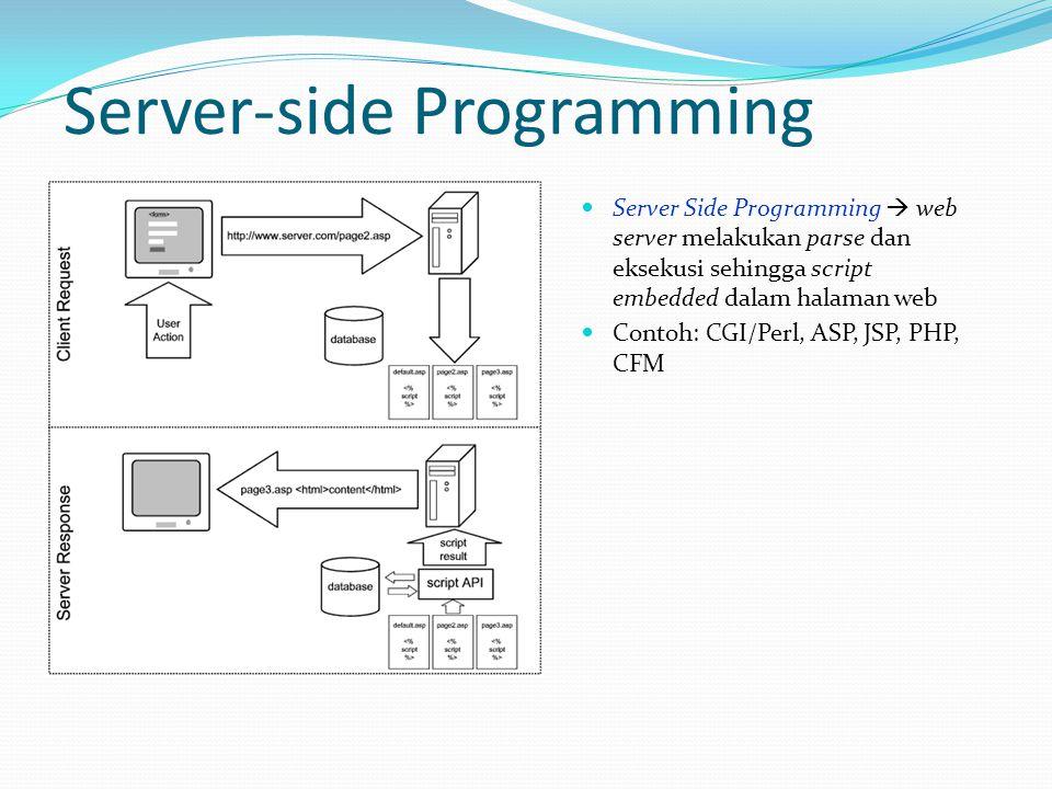 Server-side Programming  Server Side Programming  web server melakukan parse dan eksekusi sehingga script embedded dalam halaman web  Contoh: CGI/P