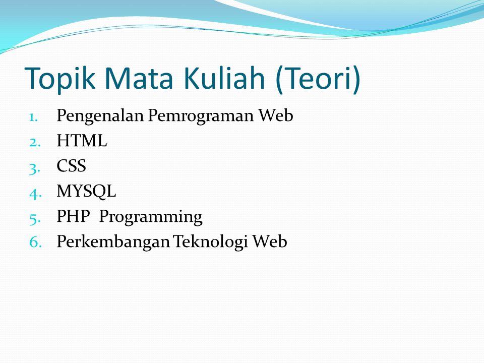 Topik Mata Kuliah (Teori) 1. Pengenalan Pemrograman Web 2. HTML 3. CSS 4. MYSQL 5. PHP Programming 6. Perkembangan Teknologi Web