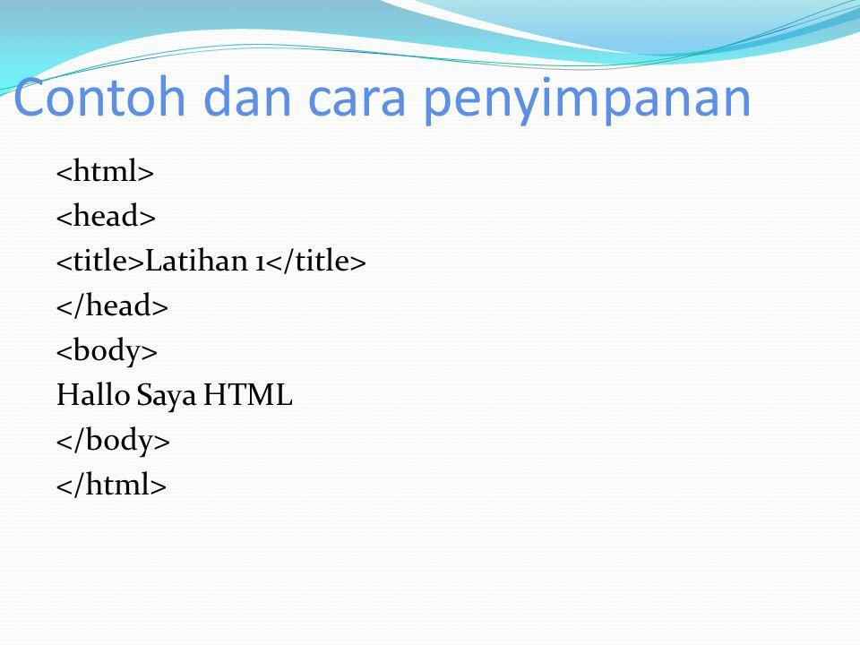 Contoh dan cara penyimpanan Latihan 1 Hallo Saya HTML