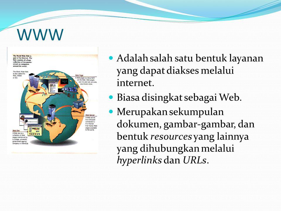 WWW  Adalah salah satu bentuk layanan yang dapat diakses melalui internet.  Biasa disingkat sebagai Web.  Merupakan sekumpulan dokumen, gambar-gamb