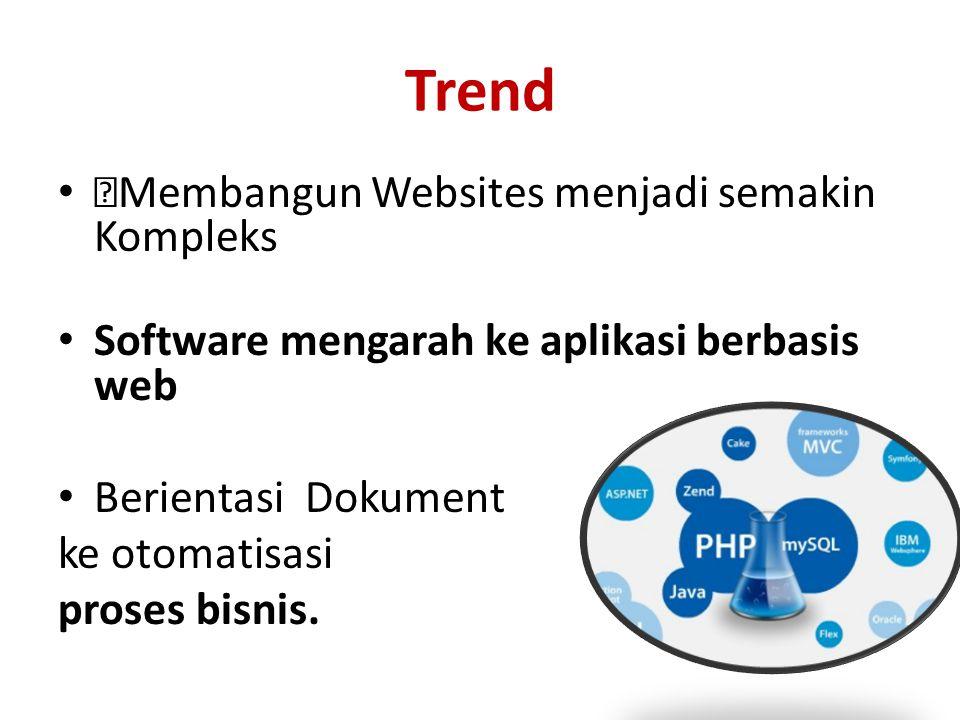 """Trend • """"Membangun Websites menjadi semakin Kompleks • Software mengarah ke aplikasi berbasis web • Berientasi Dokument ke otomatisasi proses bisnis."""