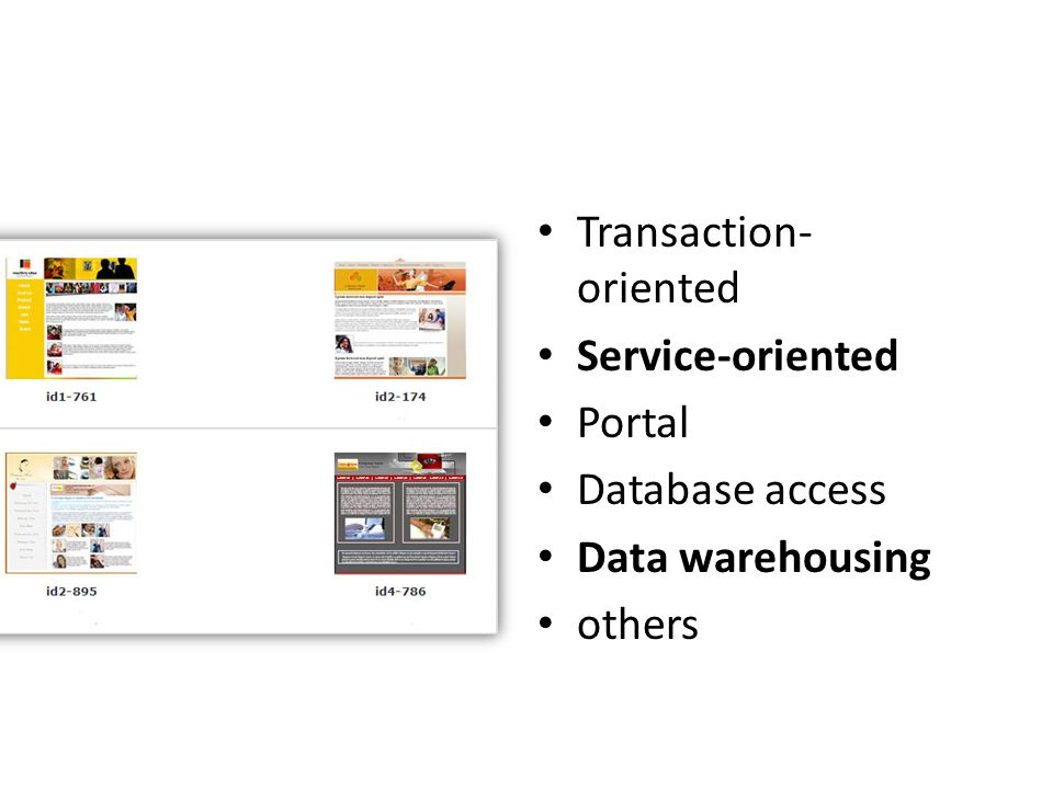 • Transaction- oriented • Service-oriented • Portal • Database access • Data warehousing • others