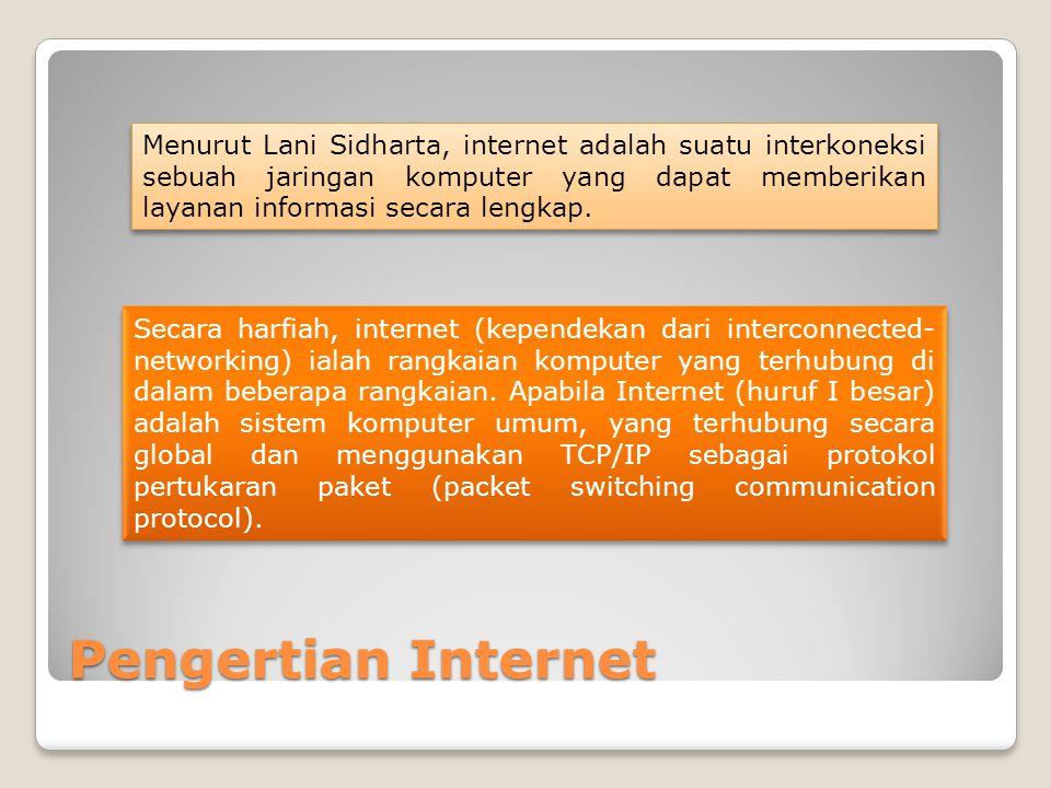 Pengertian Internet Menurut Lani Sidharta, internet adalah suatu interkoneksi sebuah jaringan komputer yang dapat memberikan layanan informasi secara