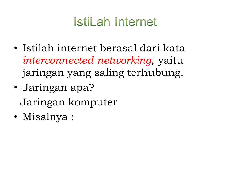 • Istilah internet berasal dari kata interconnected networking, yaitu jaringan yang saling terhubung. • Jaringan apa? Jaringan komputer • Misalnya :
