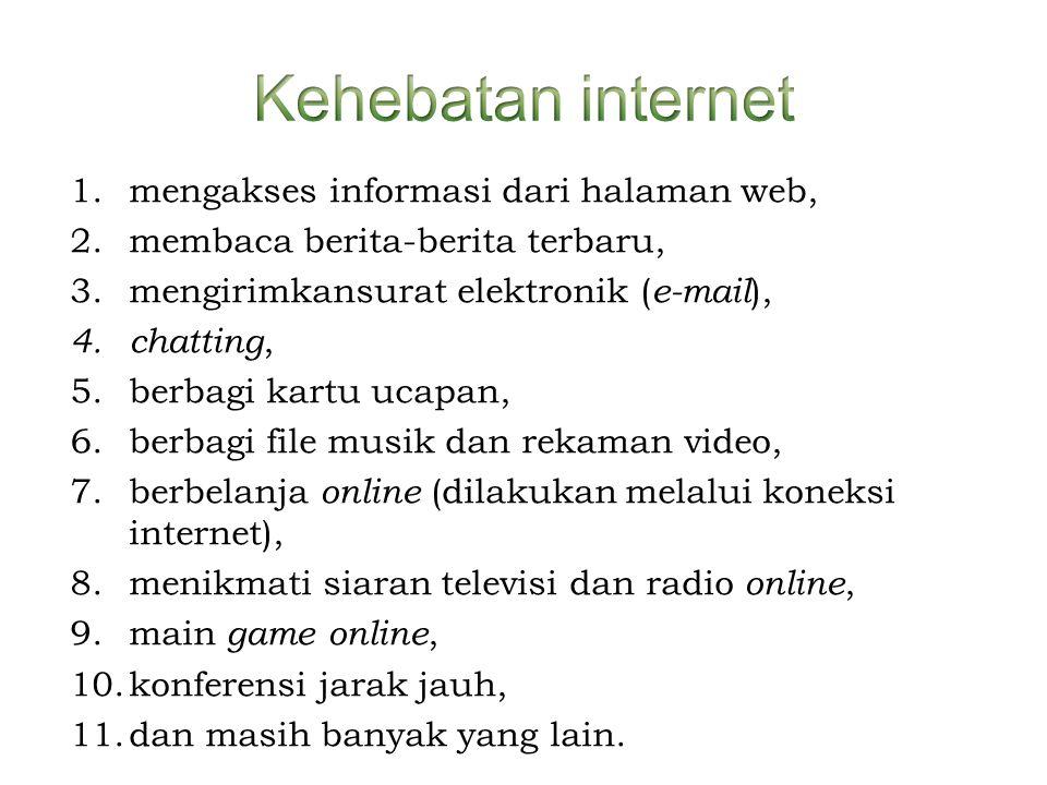 1.mengakses informasi dari halaman web, 2.membaca berita-berita terbaru, 3.mengirimkansurat elektronik ( e-mail ), 4. chatting, 5.berbagi kartu ucapan