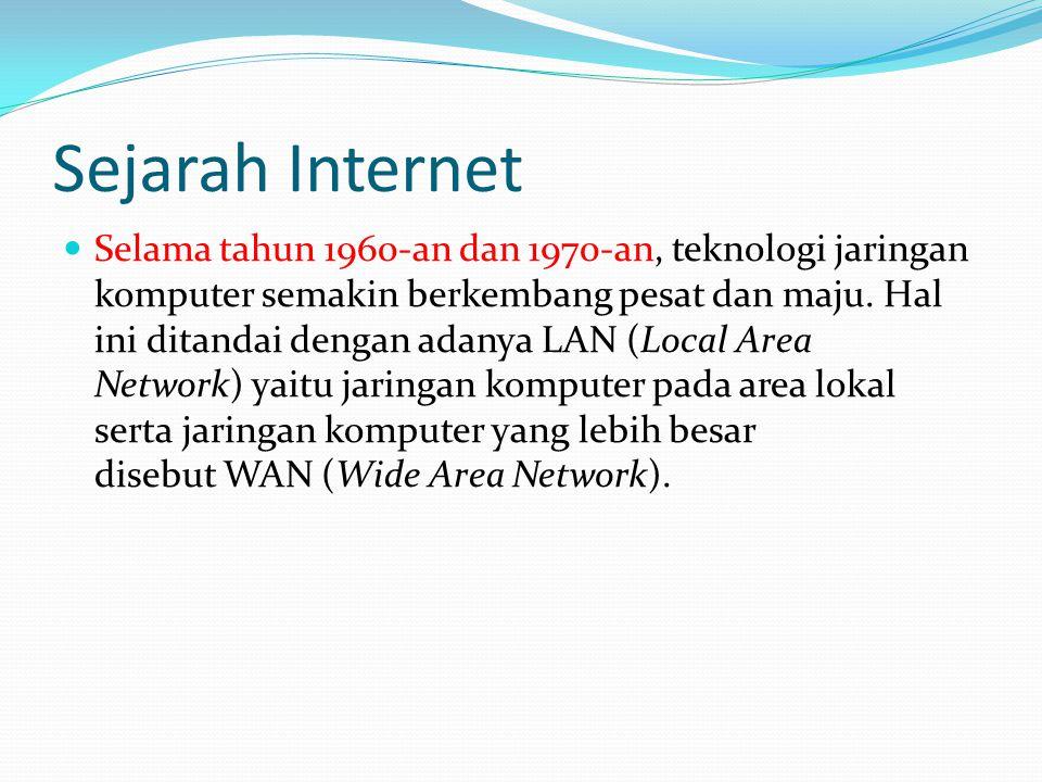 Sejarah Internet  Selama tahun 1960-an dan 1970-an, teknologi jaringan komputer semakin berkembang pesat dan maju.