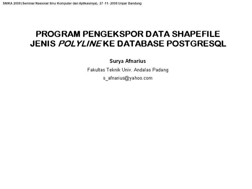 SNIKA 2008 (Seminar Nasional Ilmu Komputer dan Aplikasinya), 27 -11- 2008 Unpar Bandung