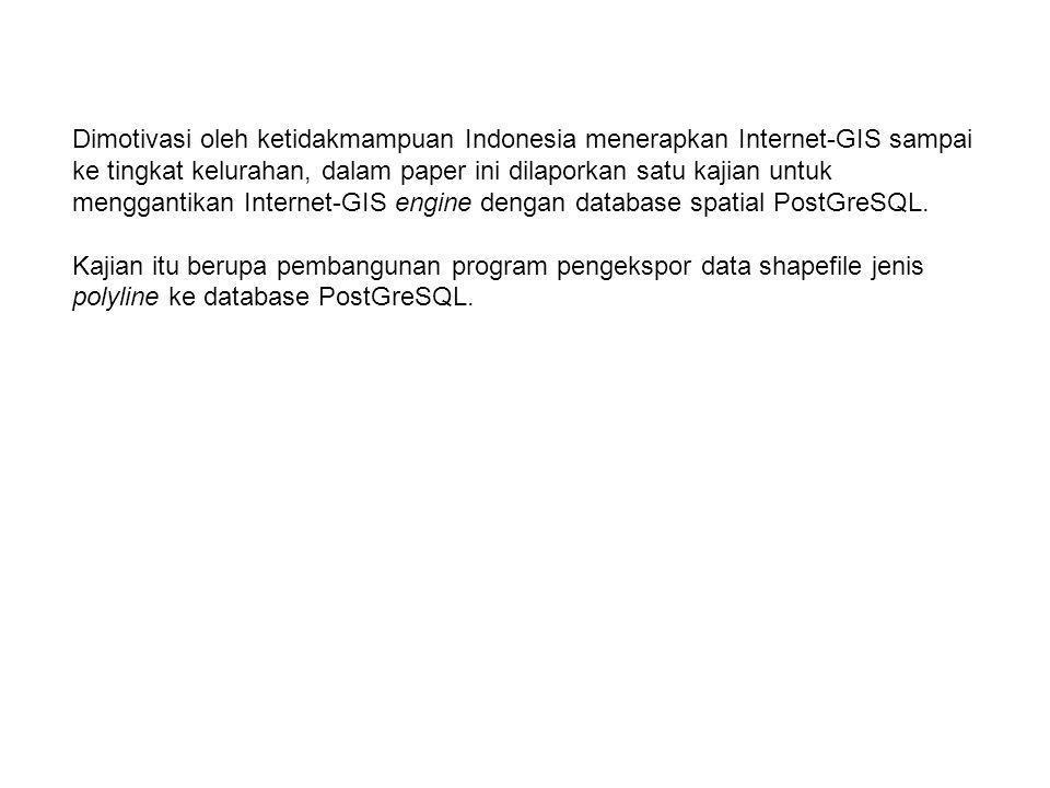 Dimotivasi oleh ketidakmampuan Indonesia menerapkan Internet-GIS sampai ke tingkat kelurahan, dalam paper ini dilaporkan satu kajian untuk menggantika