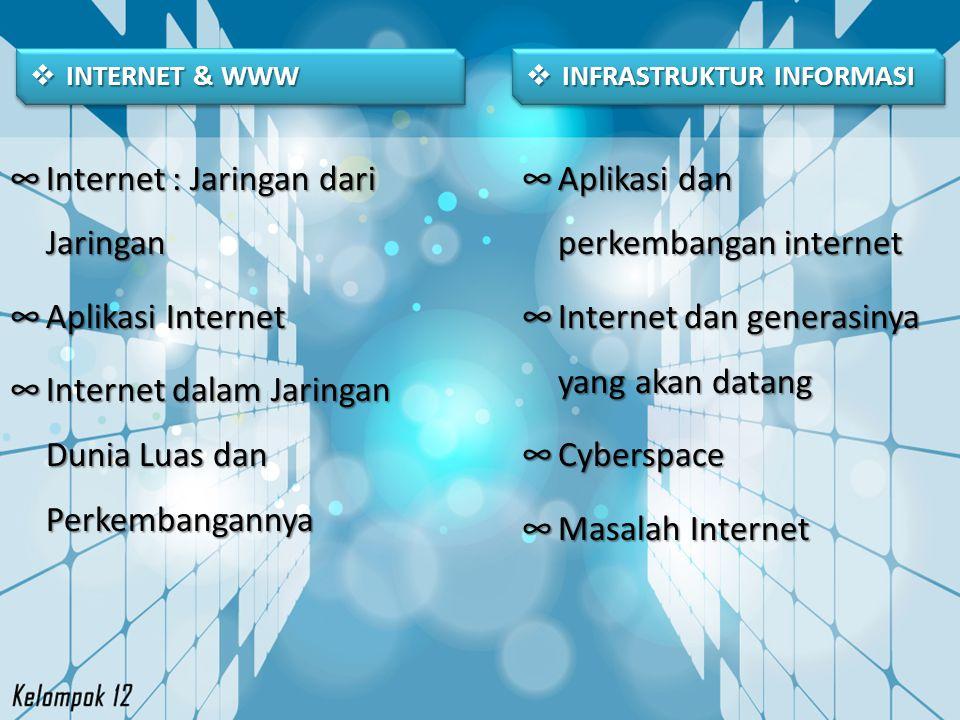  DEFINISI INTERNET Internet adalah jaringan komputer yang bisa dikategorikan sebagai WAN, menghubungkan berjuta komputer diseluruh dunia, tanpa batas negara, dimana setiap orang yang memiliki komputer dapat bergabung ke dalam jaringan ini hanya dengan melakukan koneksi ke penyedia layanan internet (internet service provider / ISP) seperti Telkom Speedy, atau IndosatNet.