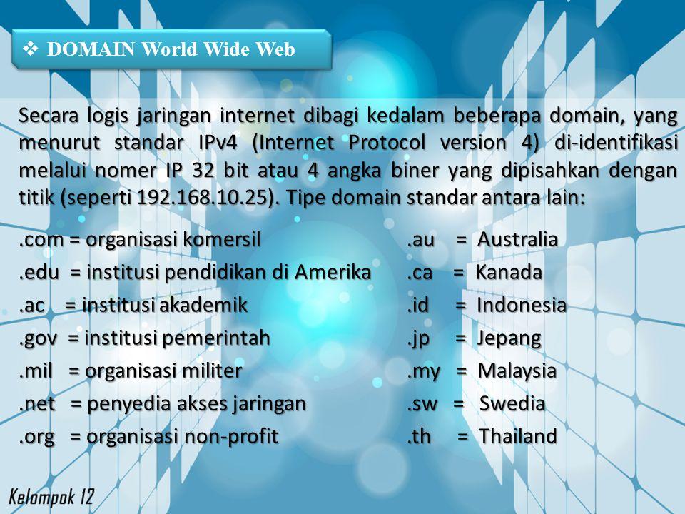  DOMAIN World Wide Web.com = organisasi komersil.edu = institusi pendidikan di Amerika.ac = institusi akademik.gov = institusi pemerintah.mil = organ