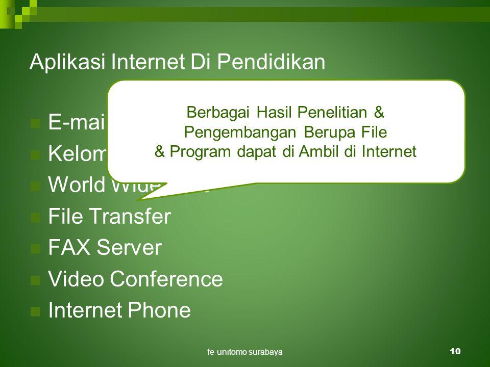 fe-unitomo surabaya10 Aplikasi Internet Di Pendidikan  E-mail / Surat Elektronik.  Kelompok Diskusi.  World Wide Web  File Transfer  FAX Server 