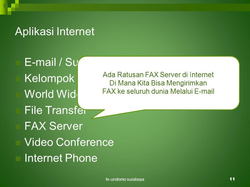 fe-unitomo surabaya11 Aplikasi Internet  E-mail / Surat Elektronik.  Kelompok Diskusi.  World Wide Web  File Transfer  FAX Server  Video Confere