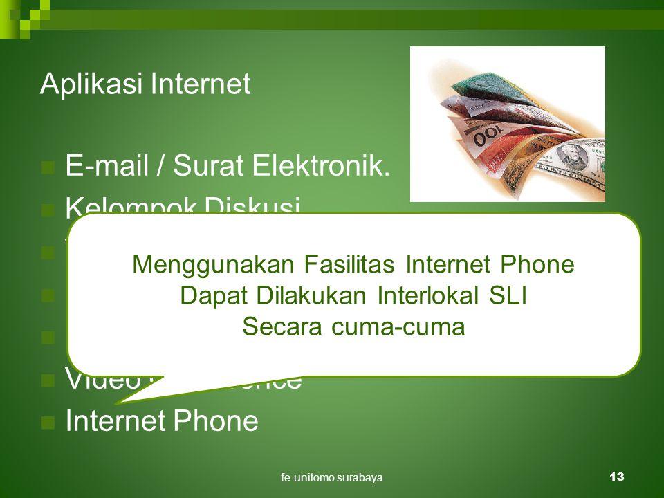 fe-unitomo surabaya13 Aplikasi Internet  E-mail / Surat Elektronik.  Kelompok Diskusi.  World Wide Web  File Transfer  FAX Server  Video Confere