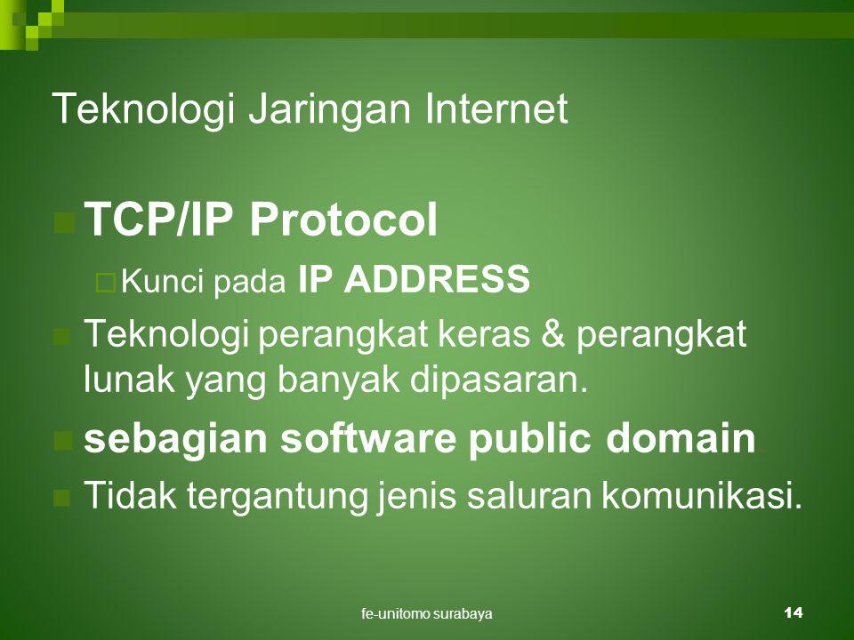 fe-unitomo surabaya14 Teknologi Jaringan Internet  TCP/IP Protocol  Kunci pada IP ADDRESS  Teknologi perangkat keras & perangkat lunak yang banyak dipasaran.