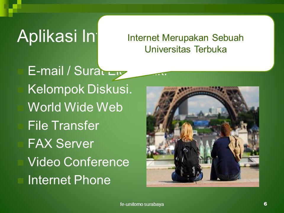 fe-unitomo surabaya6 Aplikasi Internet Di Pendidikan  E-mail / Surat Elektronik.