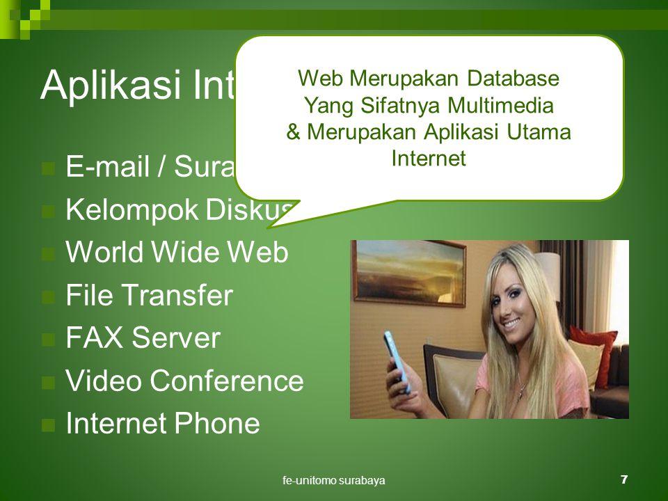 fe-unitomo surabaya7 Aplikasi Internet Di Pendidikan  E-mail / Surat Elektronik.  Kelompok Diskusi.  World Wide Web  File Transfer  FAX Server 