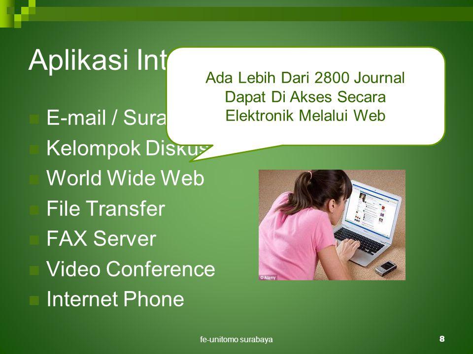 fe-unitomo surabaya8 Aplikasi Internet Di Pendidikan  E-mail / Surat Elektronik.