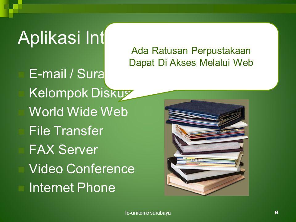 fe-unitomo surabaya9 Aplikasi Internet Di Pendidikan  E-mail / Surat Elektronik.  Kelompok Diskusi.  World Wide Web  File Transfer  FAX Server 